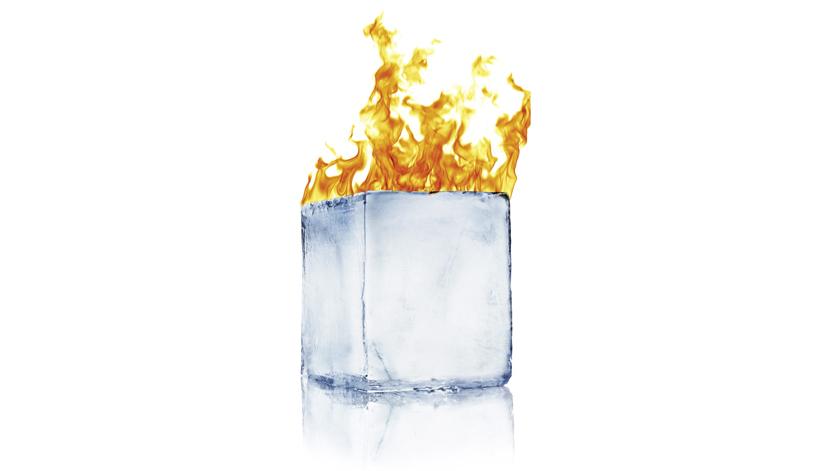 ice block on fire
