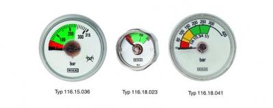 three different Pressure gauges