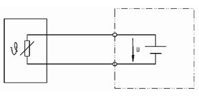 Fig.: Pt100 in 2-draads aansluiting
