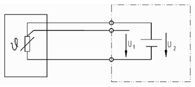 Fig.: Pt100 in 3-draads aansluiting